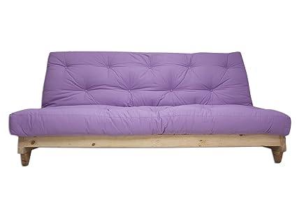 Divano letto Fresh, Naturale, Futon Viola, 107 x 140 x 82 cm ...