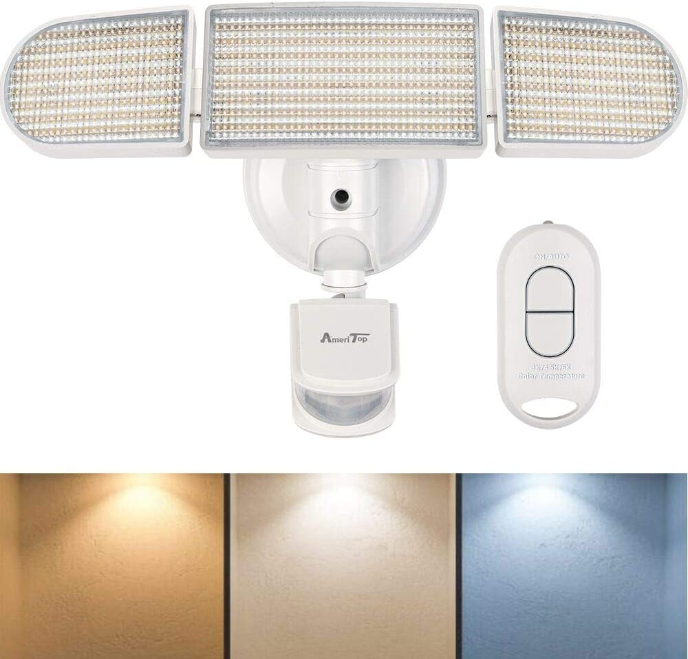 Motion Sensor Lights Outdoor, AmeriTop 35W Ultra Bright 3500LM LED Flood Light with Remote Control, 3 Color Temperatures 3000K/4500K/6000K, Wide Angle, IP65 Waterproof ETL Certified Security Light