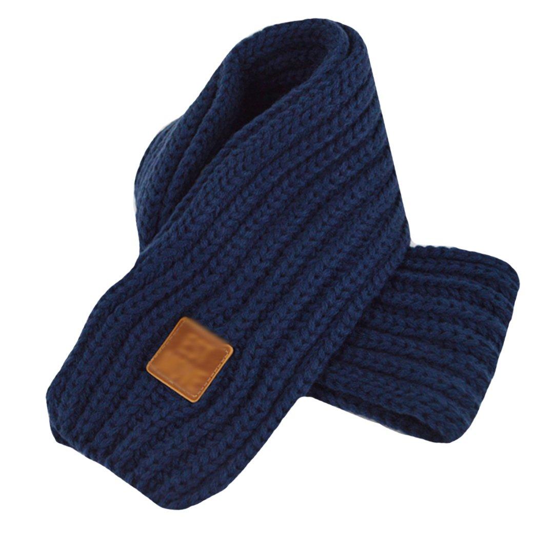 LA HAUTE Kids Scarves Autumn Winter Wool Knit Scarf Warm Solid Color Neckerchiefs Collar Neck Warmer
