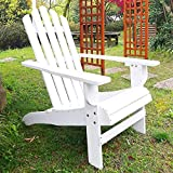 SFYLODS White Outdoor Painted Wood Fashion Adirondack Chair/Muskoka Chairs Patio Deck Garden Furniture Larger Image