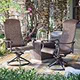 Outdoor Resin Wicker Dark Brown, Swivel Conversation Patio 3 Pieces Chat Set Is Perfect For Small Spaces