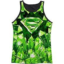 Superman DC Superhero Kryptonite S Shield Logo Adult Black Back Tank Top Shirt