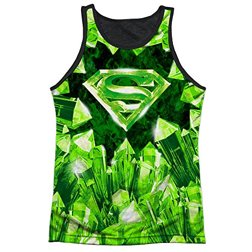 Superman+tank+tops Products : Superman DC Superhero Kryptonite S Shield Logo Adult Black Back Tank Top Shirt