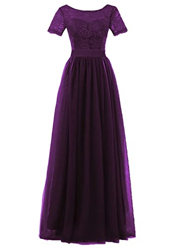 DYS Women's Lace Bridesmaid Dress Sleeves Tulle Prom Evening Dresses Long