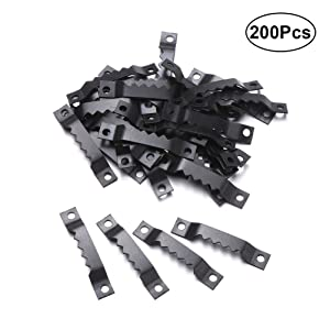200pcs Double Hole Picture Photo Frame Saw Tooth Hooks Hangers Frame Accessories (Black)