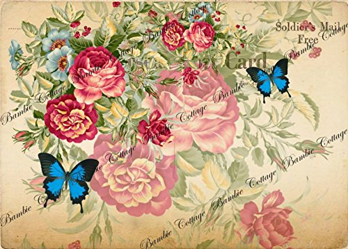 Paper for Decoupage Vintage Style and Decoupage Gift Wrap Size 20x25 Cm Total 3 Sheets (Vintage Decoupage)