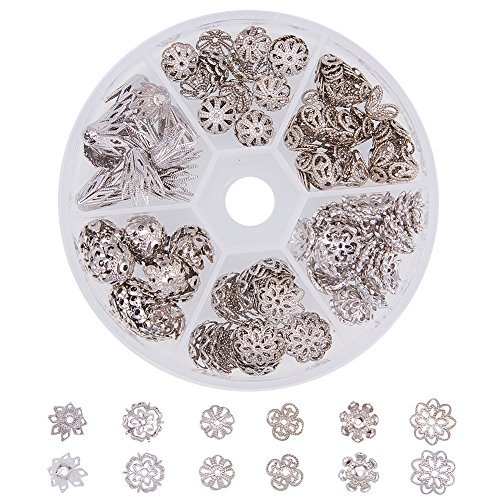 PH PandaHall 1 Box 170 PCS 6 Style Platinum Brass Filigree Flower Bead Caps Jewelry Findings Accessories for Bracelet Necklace Jewelry Making