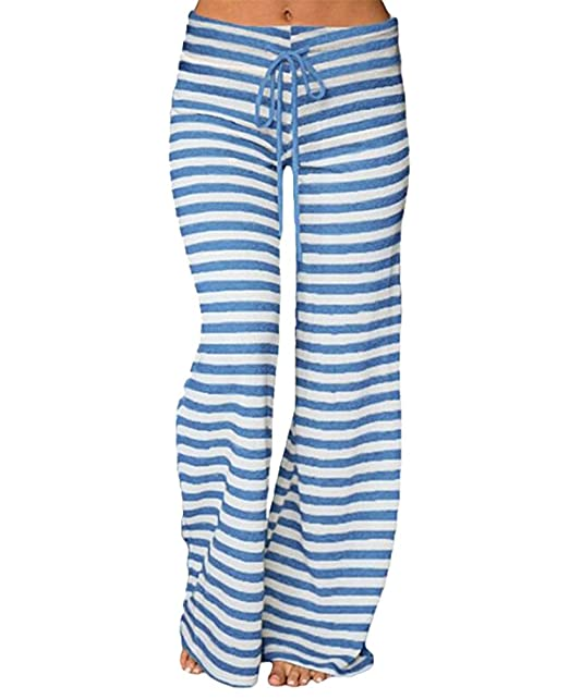 Anchos Mujer Yuandian Impresión Casual Pantalones Cordón Rayas dZCCqzYw