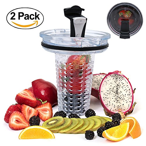 Umiwe 2 In 1 Removable Fruit Infusion Core With Lid Fruit Infuser With Spill Proof Lid For 30 Oz Yeti Ozark Tumbler Cup 2 Pack
