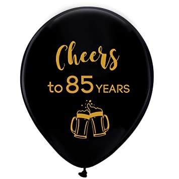 Amazon Black Cheers To 85 Years Latex Balloons 12inch 16pcs