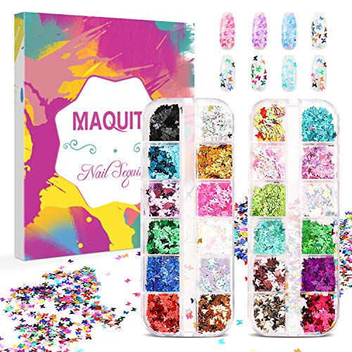 MAQUITA Holographic Nail Glitter Sequins and 2Boxes 24Colors/set Face Body Eye Hair Nail Art with Decoration Paillettes Butterfly Flake Chunky Glitters for Women Girls Festival DIY Crafting Great Gift