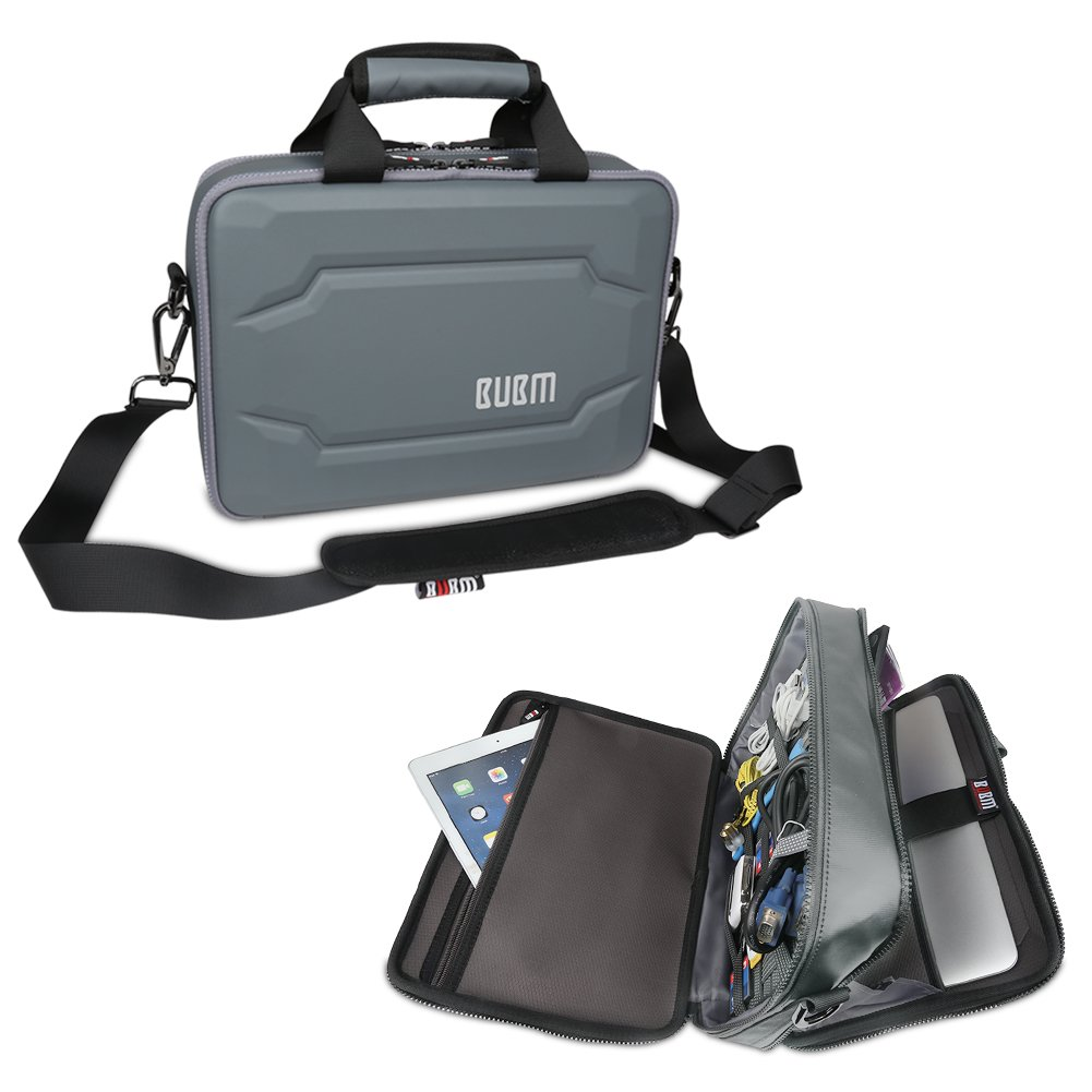 BUBM Double Layer Laptop Messenger Bag, Hard Shell Electronics Accessories Cases Laptop Shoulder Briefcase for 11 Inch Notebook, Gray by BUBM