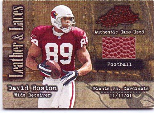 David Boston 2002 Playoff Absolute Memorabilia Leather & Lace Game Used Football #LL-6 - 161/250 - Arizona Cardinals - Buckeyes Football State 2002 Ohio
