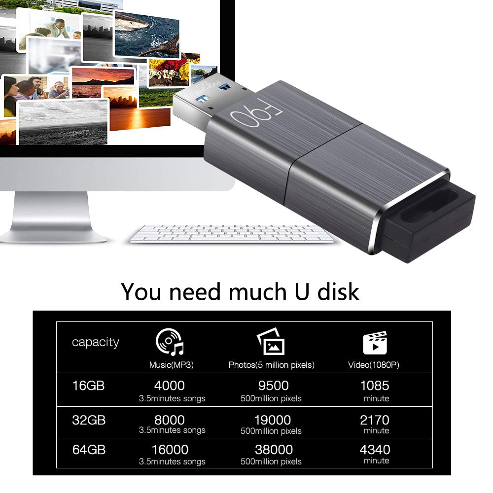 128GB USB 3.0 Flash Drive, Techkey F90 Pen Drive High Speed Thumb Drive Capless Pendrive Retractable USB Memory Stick Shock Resistant Jump Drive Compact Size by Techkey (Image #4)