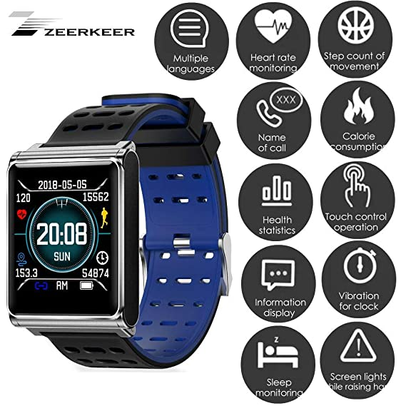 zeerkeer Smartwatch Impermeable Reloj Inteligente Reloj Fitness Pulsómetro de Pulsera Bluetooth Smart Watch podómetro Reloj Deportivo para Mujer Hombre para ...