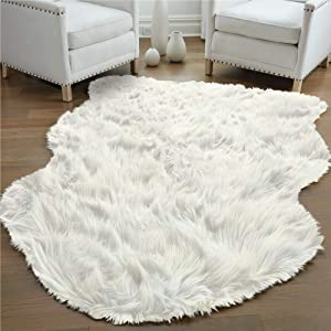 Gorilla Grip Premium Faux Fur Area Rug, 3x5, Fluffy Sheepskin Shag Carpet Accent Rugs for Bedroom and Living Room, Luxury Indoor Home Decor, Bed Side Floor Plush Carpets, Sheepskin, Ivory