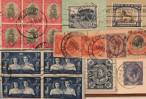 Postmark Originals (Postage Stamps of South Africa, King Edward & George, Eighteen (18) Old Cancelled Collectibles to Shilling Value - Original Postmarks Including RARE Elim Hospital)