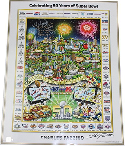 Joe Montana Autographed Super Bowl 50 Fazzino 27x34 Poster with 4-0 in SB 11 TDs - 0 Ints Perfect Insc - Authentic - Sb Int