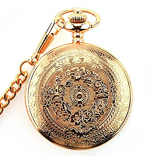 Powshop Vintage Stainless Quartz Pocket Watch with 14.8'' Chain Classic Sculptured Fob Pocket Watch (Rose Gold) ()