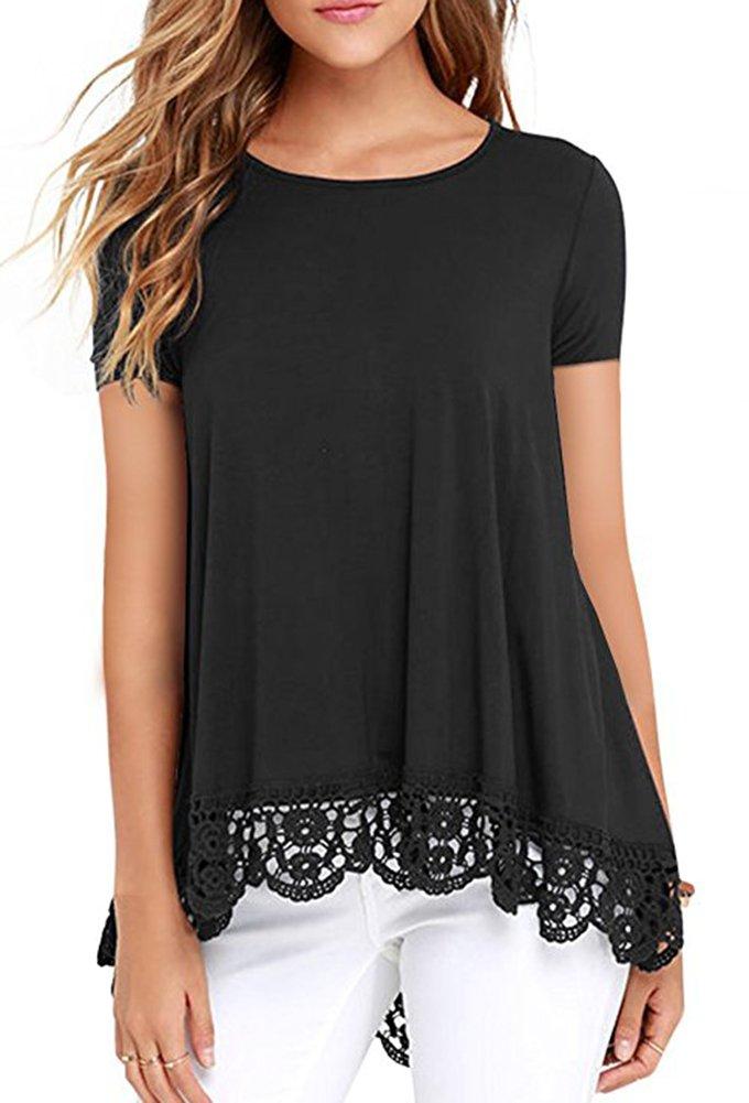 Women's Short Sleeve A-line Flowy Tunic Tops Black L