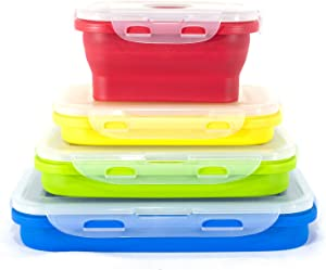 STOGO Collapsible Food Storage Containers- Set of 4 Leak Proof with Airtight Plastic BPA-Free Lids, for Kitchen Storage, Lunch Boxes, Meal Prep (1 Set Rectangle)