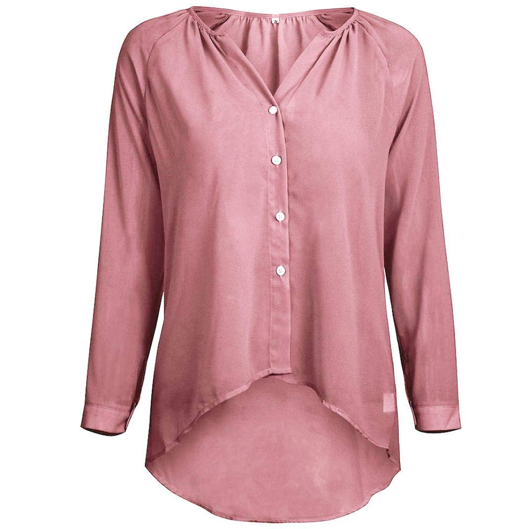 SamMoSon Women Ladies V Neck Long Sleeve Button Chiffon Casual Shirt Blouse 11814540
