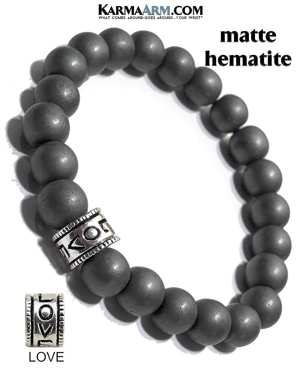 Anxiety Release: Matte Black Hematite Boho Zen Meditation Jewelry KarmaArm Love Bracelet Love Bead Yoga Chakra Reiki Healing Energy Bracelet