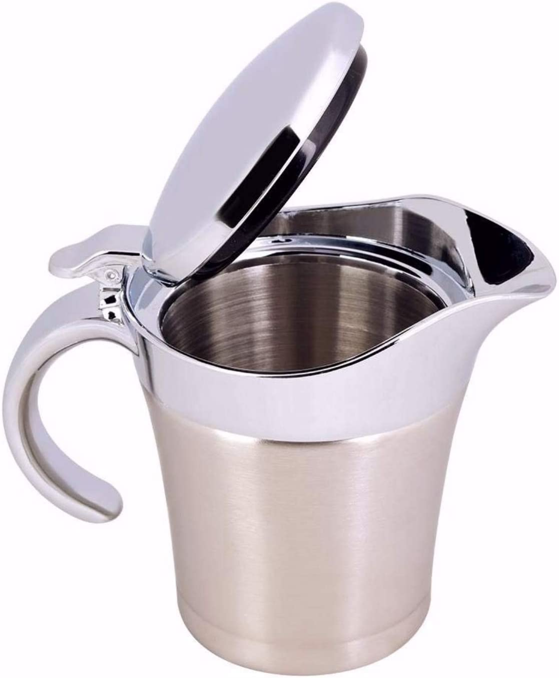 304 Stainless Steel Thermal Insulated Double Wall Sauce Gravy Boat Serveware Beverage Serveware Kitchen Pot Serving Jug (S450ml)