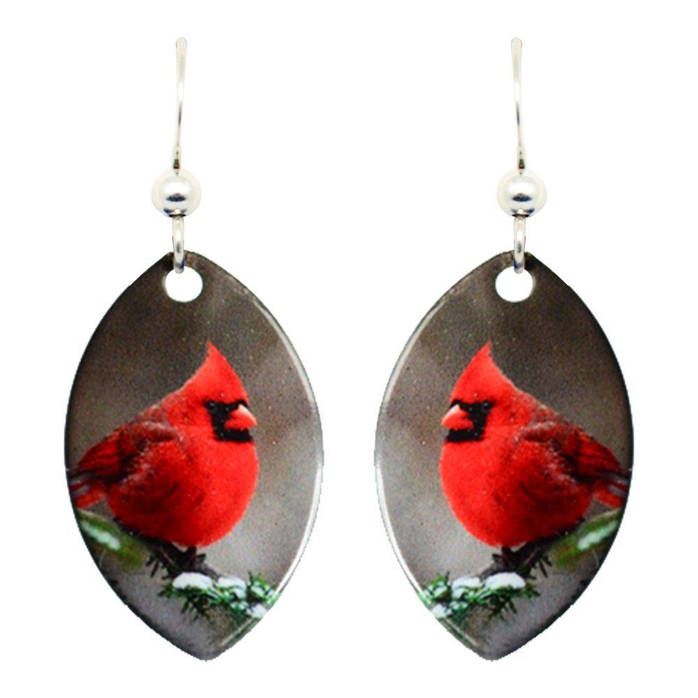 Cardinal Earrings by dears Non-Tarnish Sterling Silver French Hook Ear Wire