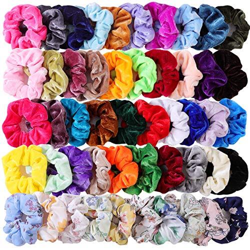 50 Pcs Hair Scrunchies Velvet Elastic Hair Bands Scrunchy Hair Ties Chiffon Flowers Scrunchies Ropes Scrunchie for Women or Girls Hair Accessories - 50 Assorted Colors Scrunchies.]()