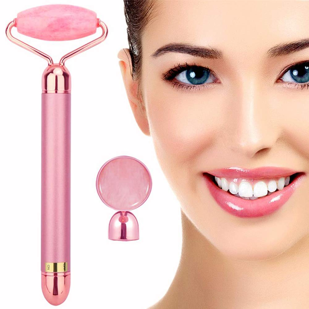 2-IN-1 Electric Jade Roller Facial Massager, Nature Rose Quartz Beauty Bar Face Roller Kit, Arm Eye Nose Massage Stone for Face Lift,Anti-Aging,Anti-Wrinkles,Skin Tightening,Face Firming by Amirce