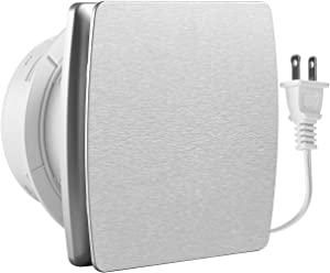 Hon&Guan 6 Inches Home Ventilation Fan 141 CFM Bathroom Garage Exhaust Fan Ceiling and Wall Mount Fan for Kitchen/Bathroom, Super Silent, Energy-saving,Strong Exhaust(Silver)