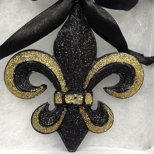 new orleans glittery fleur de lis holiday mardi gras christmas ornament saints black and gold with