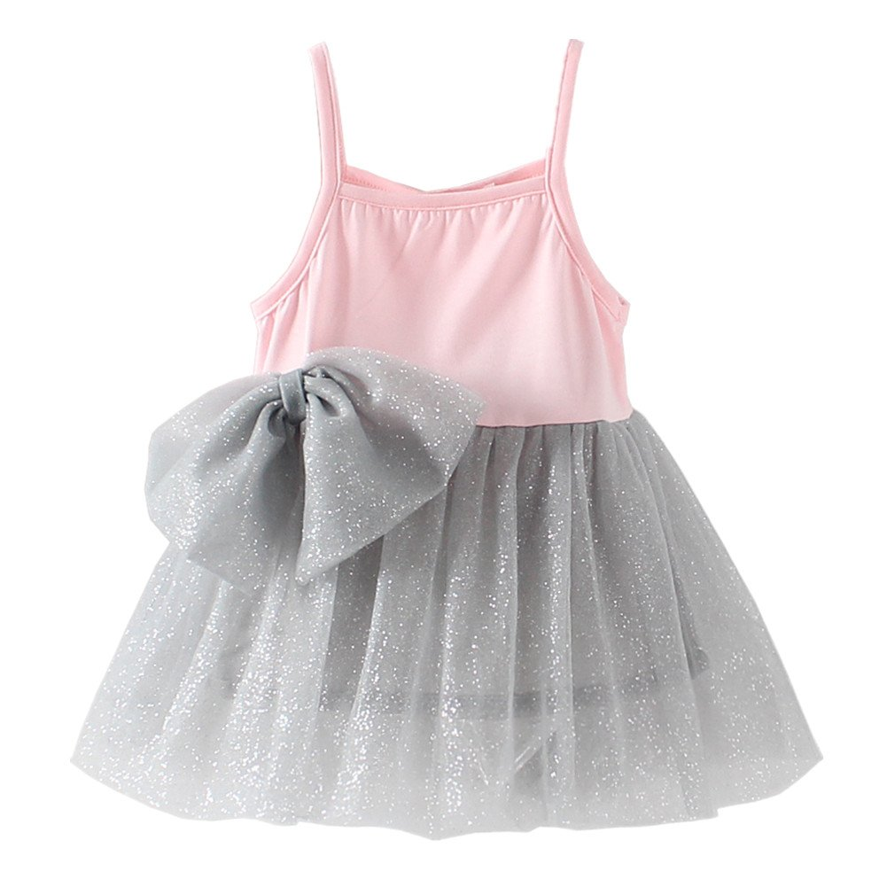 LittleSpring Little Girls' Dress Lace Bow LZ-Q0323-us