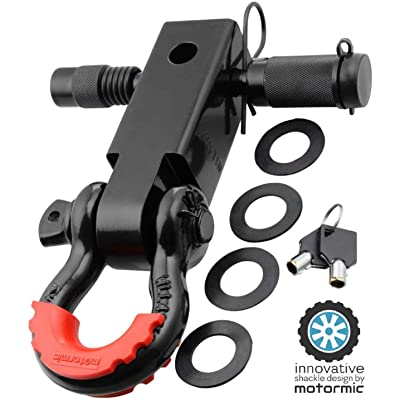 "Motormic UNIQUE Shackle Hitch Receiver 2"" + 5/8"" Trailer Lock Pin and 3/4"" D Shackle (35,000 lbs Max Capacity) – Heavy Duty Off Road Recovery Black D Ring with 4 washers + Red Isolator for Jeep Towing: Automotive"