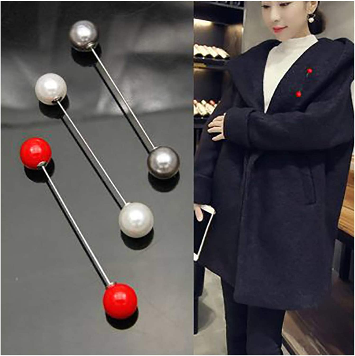 Sweater Shawl Clip Double Faux Pearl Brooches Safety Pins for Women