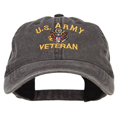 dc49aa46021 e4Hats.com US Army Veteran Military Embroidered Washed Cap - Black OSFM