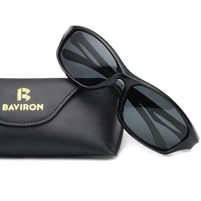 74d4d63566 BAVIRON Mens Polarized Sport Sunglasses Cycling Running TR90 Unbreakable  Eyewear(Black Grey)