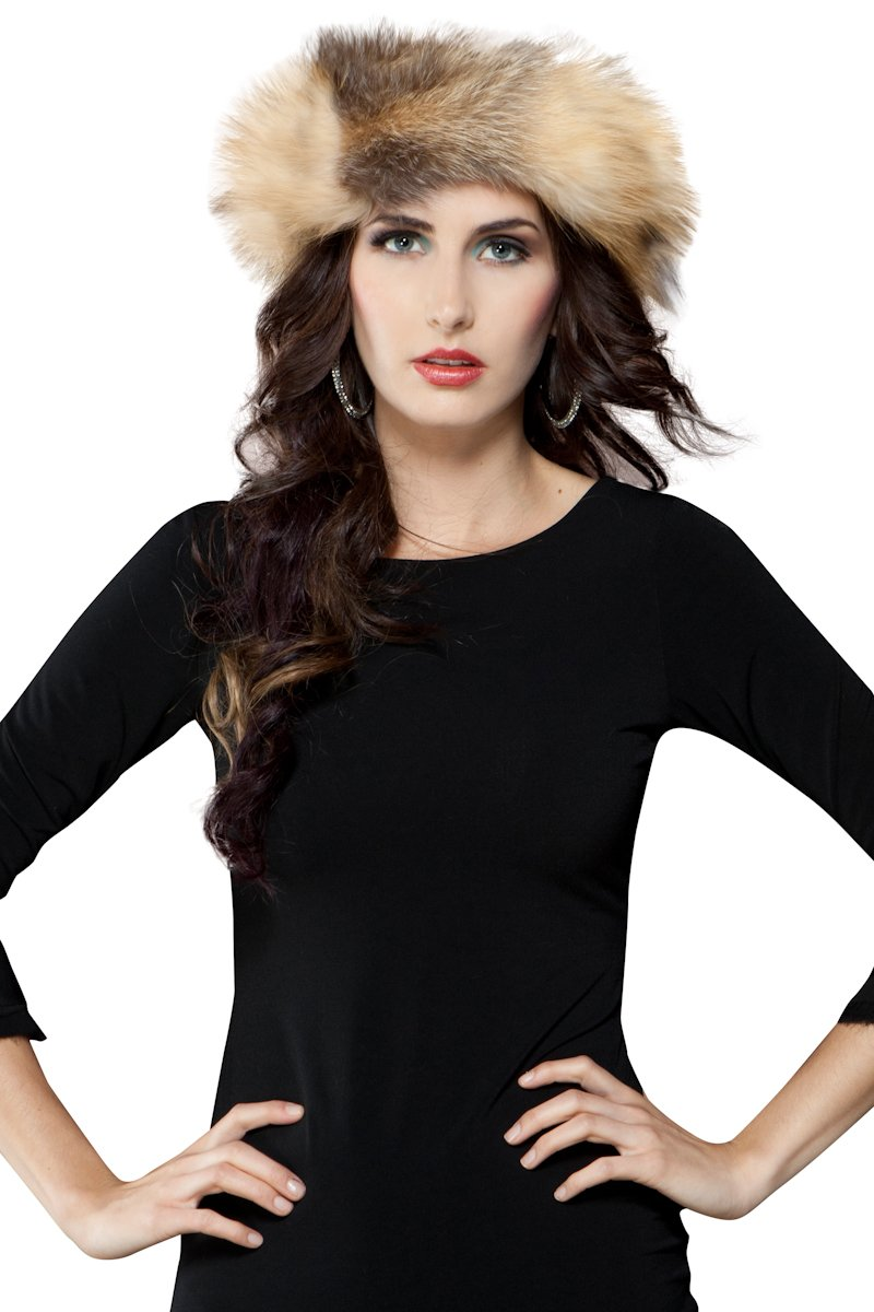 EM-EL Women's Cross Fox Fur Headband by EM-EL