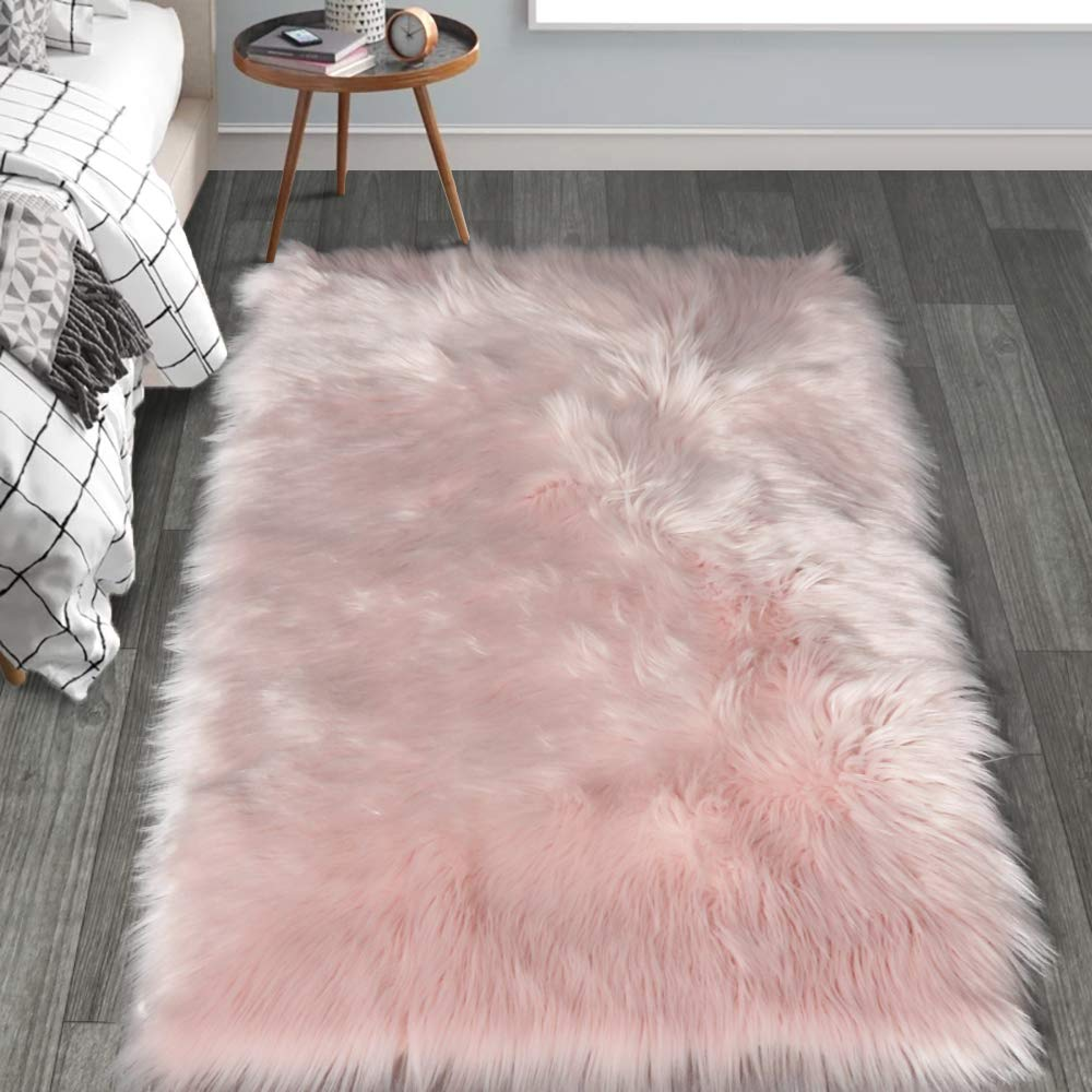 HAOCOO Faux Fur Sheepskin Rug Fuzzy Fluffy Rectangle Pink Area Rugs 3'x 5'Kids Carpet for Bedroom Living Room Floor Or Across Your Armchair Sofa Couch