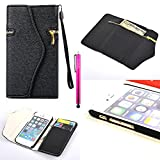 iPhone 6 Plus Case, JCmax New Flip [Zipper Feature] Stand Synthetic Leather Wallet Case Cover With Card Holder, Cash Pocket and Wrist Strap For Apple iPhone 6 Plus / iPhone 6S Plus 5.5 inch ¨CBlack