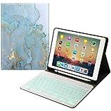 Funda con teclado para iPad Mini 5/Mini 4 con soporte para lápiz, diseño de mármol, con teclado extraíble magnético de 7 colo