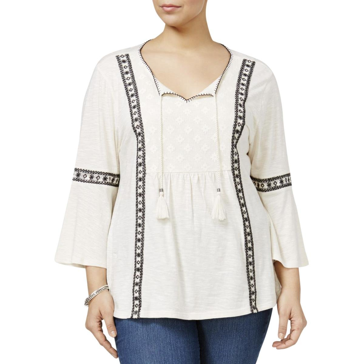 Style & Co. Plus Size Lace-Trim Peasant Top in Ditsy Ivory (2X)