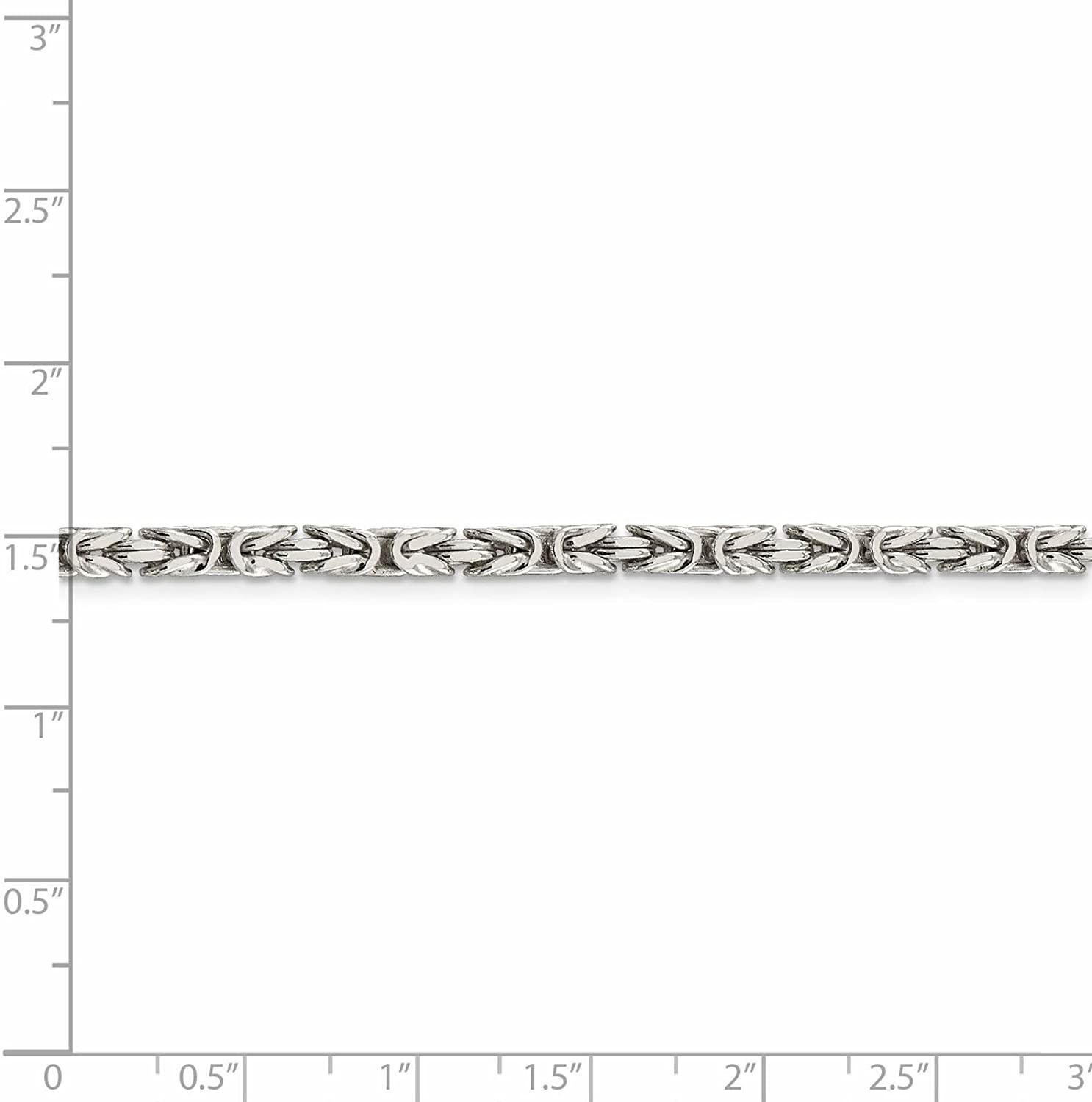 925 Sterling Silver 3.2mm Polished Square Byzantine Chain Necklace 7-30