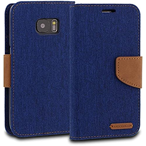 Galaxy S7 Case, ModeBlu [Pocket Diary Series] [Blue] Wallet Case ID Credit Card Cash Slots Premium Canvas [Stand View] for Samsung Galaxy S7 Sales