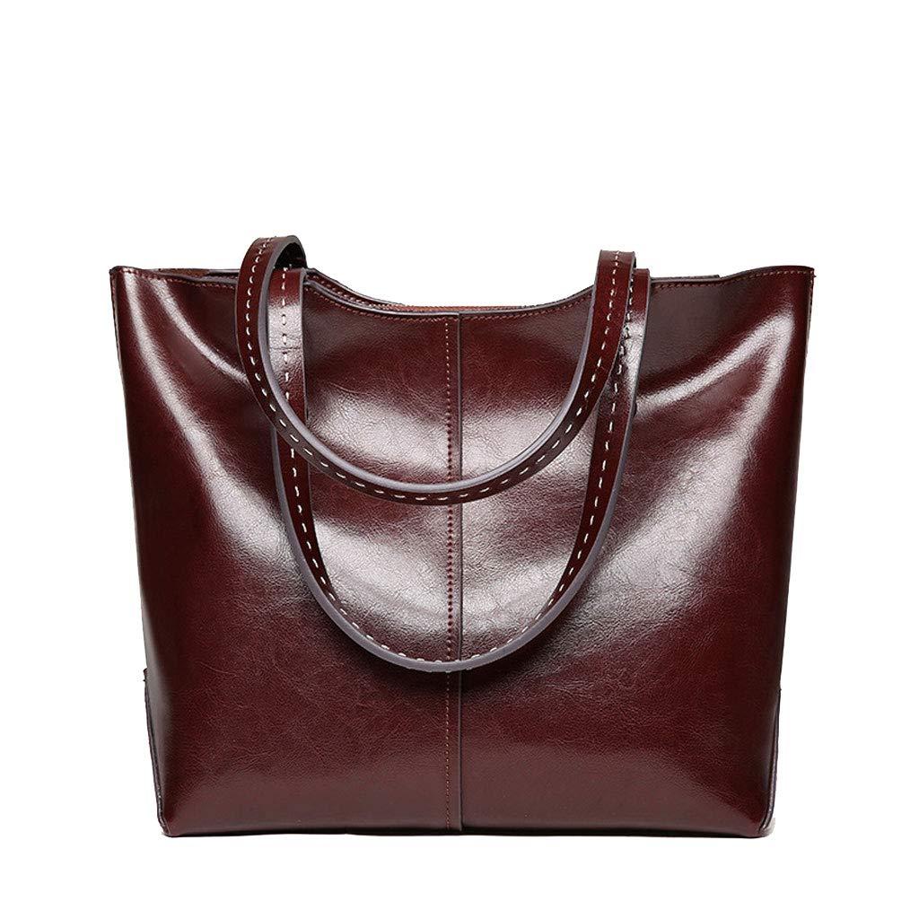 PU Female Bag Large Capacity Ladies Bills Shoulder Slung Big Bag Handbag (Color : Coffee) liu