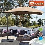 Sundale Outdoor 8.2ft Square Sunbrella Fabric Offset Hanging Umbrella Market Patio Umbrella Aluminum Cantilever Pole with Crank Lift, Corss Frame, 360°Rotation, for Garden, Deck, Backyard (Camel) Review
