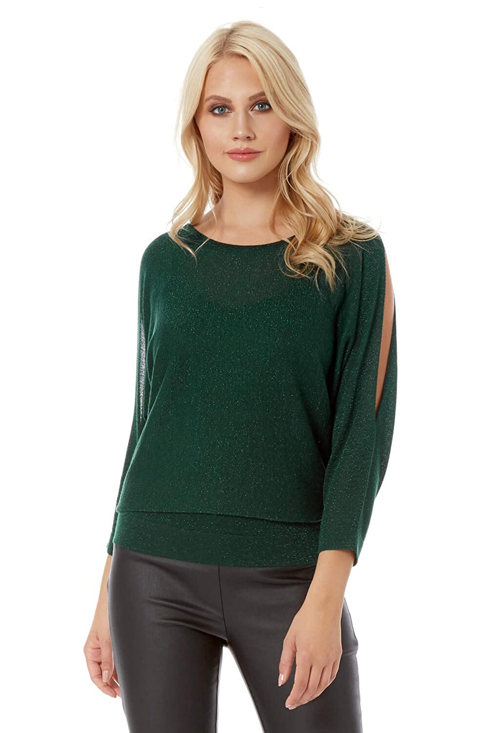 Roman Originals Womens Lurex Split Sleeve Top Round Neck Long Sleeve Top - Ladies Christmas Comfy Knitwear for Everyday Daytime Casual Work Wear Party Knitted Tops