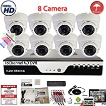 Evertech 16 Channel HD DVR w/ 8 pcs 4in1 AHD TVI CVI ANALOG 1080P Varifocal Manual Zoom Dome HD CCTV Home Security Camera System Set w/ 2TB Hard Drive