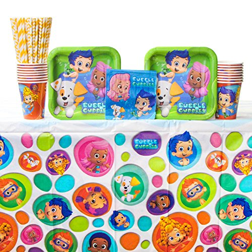 Bubble Guppies Party Supplies Pack for 16 Guests - Straws, Dessert Plates, Beverage Napkins, Cups, and Table Cover